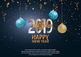 Happy New Year 2019 Holiday luxury Vector Illustration.