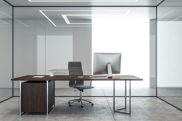 Clean concrete office interior