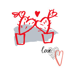 Valentine's Day card.  Vector sketch  illustration.