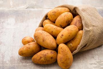 A bio russet potato wooden vintage background.