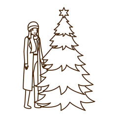 woman with christmas tree avatar character