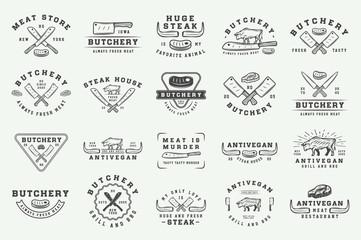 Set of vintage butchery meat, steak or bbq logos, emblems, badges, labels. Graphic Art. Illustration. Vector.