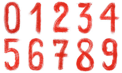 Watercolor hand written red numbers 0-9. Isolated on a white background.