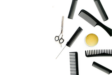 female hairdresser desk with accessories and combs on white background top view mockup