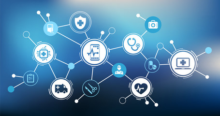 modern iot medical technology / e-health / telemedicine – vector illustration