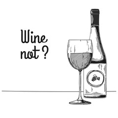 Bottle with wine and wine glass. Text wine not Vector illustration