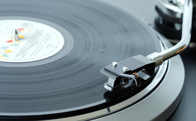turntable record player closeup