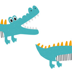 Funny kids print with crocodile. Vector hand drawn illustration.