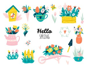 Hello spring. Set with Hand drawn elements. Сalligraphy, flowers, birds, wreaths, and other. Vector illustration.