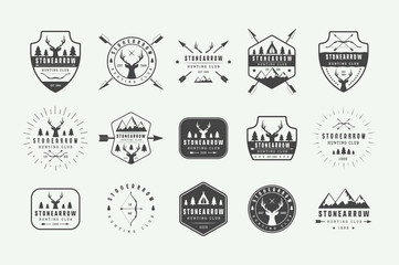 Set of vintage hunting labels, logos, badges, emblems, marks and design elements. Vector Illustration. Monochrome Graphic Art. Wall mural