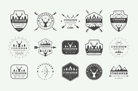 Set of vintage hunting labels, logos, badges, emblems, marks and design elements. Vector Illustration. Monochrome Graphic Art.