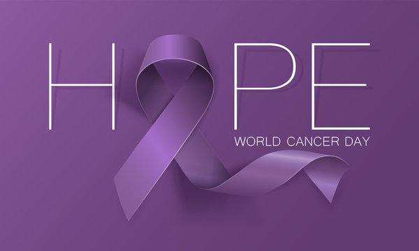 World Cancer Day concept. Hope. Lavender Ribbon. Vector illustration.