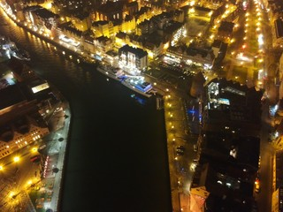 Gdansk by night aerial view