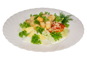 Greek salad in a plate. isolate. decorated with greens. restaurant feed