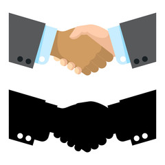 Flat and silhouette handshake vector illustration. Handshake symbol, shake deal contract