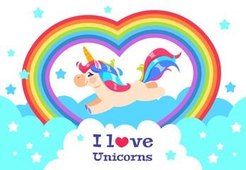 Cute rainbow unicorn. Cartoon funny baby rainbow pony. Girl inscription vector background. Illustration of unicorn with rainbow, magic lovely character horse