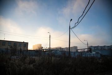 Industrial landscape. Sleeping areas in the city. Fan posts