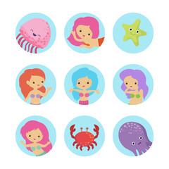 Sealife cartoon characters icons vector of set. Illustration of jellyfish and mermaid girl, character princess sea