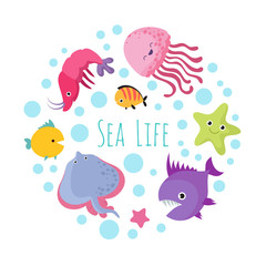 Cute cartoon sea life animals isolated on white background. Sea animal, ocean fish underwater illustration