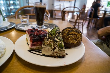 Sweet cakes and coffee on the table. Czech Republic