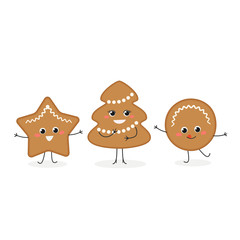 Vector set of funny gingerbread Christmas cookies