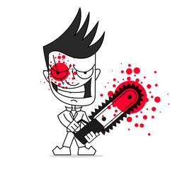 Killer with chainsaw vector illustration on white background.