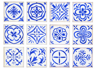 Set vintage ceramic tiles in azulejo design with blue elements of floral ornament on white background. Watercolor hand drawn painting illustration.