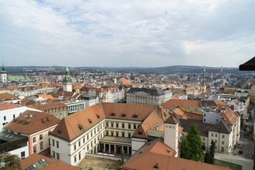 Brno, Czech Republic - Sep 12 2018: View to the red roofs of Brno city. Czech Republic