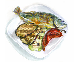 Watercolor food. Fried fish with vegetables on a plate