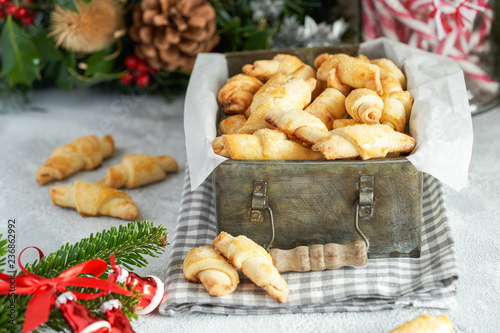 Just Baked Croissant Cookies With Filling In An Iron Box Christmas