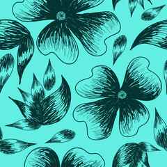 flowers and leaves drawn by hand on a light blue color
