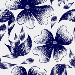 illustration of flowers and leaves drawn by hand on a gray color