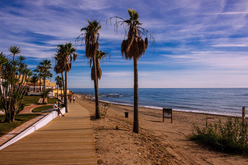 Promenade. Calahonda Beach, Mijas, Costa del Sol Occidental, Malaga, Andalusia, Spain. Picture taken – 2 December 2018.