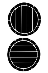 Black silhouette. Wooden barrel with metal bands. Wine or beer keg. Flat vector illustration isolated on white background