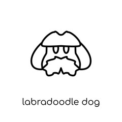 Labradoodle dog icon. Trendy modern flat linear vector Labradoodle dog icon on white background from thin line dogs collection