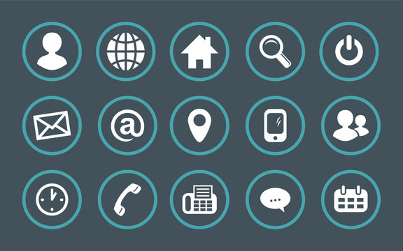 Contact information in a set of vector icons. Vector icons information. Contact information in character set.