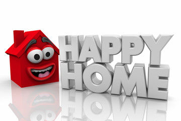 Happy Home Family House Words 3d Illustration