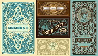 Set of 5 Vintage labels. Vector layered