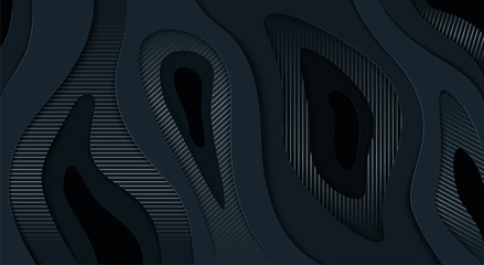 Abstract wavy black background with silver lines cut from paper. 3D vector illustration.