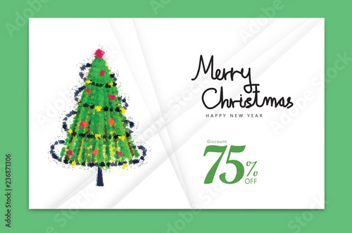 merry christmas card 2019 happy new year banner christmas tree holiday decoration