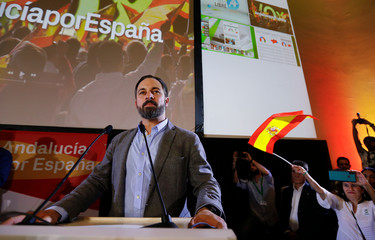 Spain's far-right VOX party leader Abascal pauses during a speech as he celebrates results after the Andalusian regional elections in Seville