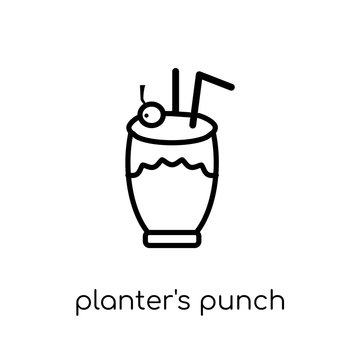 planter's punch icon. Trendy modern flat linear vector planter's punch icon on white background from thin line Drinks collection, outline vector illustration