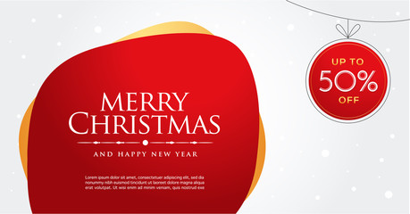 Merry christmas and happy new year.  Greeting card and poster design. Gift card. Sale voucher, Gift Box. Web banner. Holiday present set. Vector, Illustration.