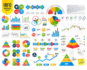 Business infographic template. Pencil with document and open book icons. Graduation cap symbol. Higher education learn signs. Financial chart. Time counter. Vector