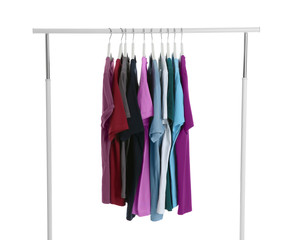 Wardrobe rack with men clothes on white background