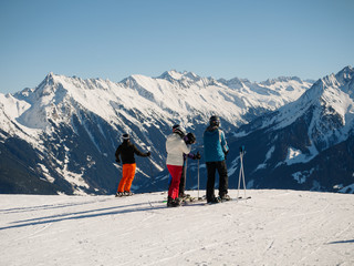 Skiers watching the Alps