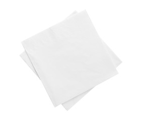 Tuinposter Cocktail Clean paper napkins on white background, top view