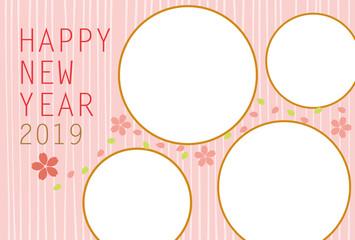 2019年 かわいい桜の年賀状 フォトフレーム ベクターイラスト素材