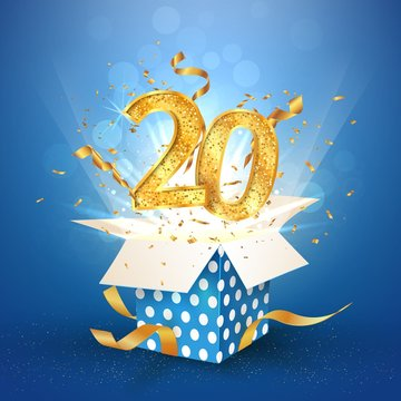 20 th years anniversary and open gift box with explosions confetti. Template twenty birthday celebration on blue background vector Illustration