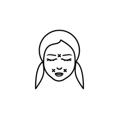 Woman, correction  wrinkle icon. Element of anti aging outline icon for mobile concept and web apps. Thin line Woman, correction  wrinkle icon can be used for web and mobile